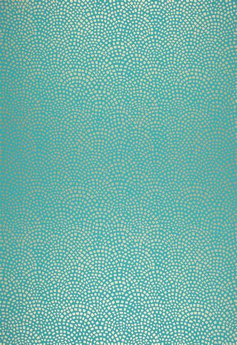 mosiac aqua wallpaper  schumacher  geometric