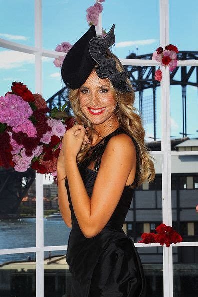 laura dundovich wearing kerrie stanley millinery myer aw