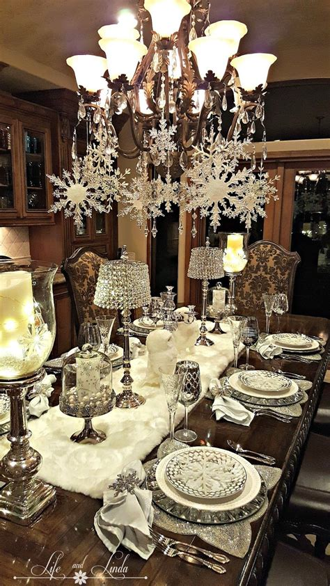snowflakes  baubles tablescape shabby chic
