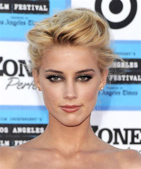 amber heard formal medium straight updo hairstyle