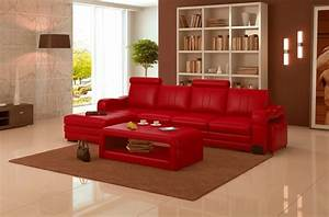 canape d39angle en cuir italien 5 places romana rouge With tapis rouge avec grand canapé cuir d angle