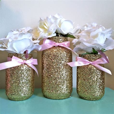 Pink And Gold Mason Jar Set Pink Bows And By