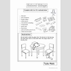 School Thingsa,an,prepositions Worksheet  Free Esl Printable Worksheets Made By Teachers
