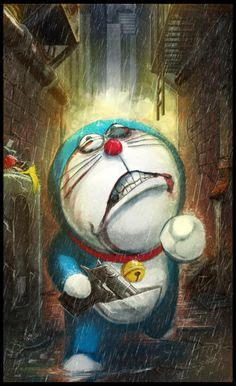 bad doraemon face  blue background hd wallpaper