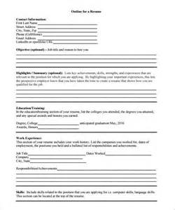 resume outlines for resume outline template 10 free word excel pdf format