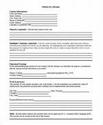 Resume Outline Template 10 Free Word Excel PDF Format Download Free Samples Examples Format Inside Blank Resume Template Pdf Sample Of Blank Resume Form With Regard To Blank Resume Template Pdf Basic Resume Sample Resume Sample Blank Form Template Printable Format