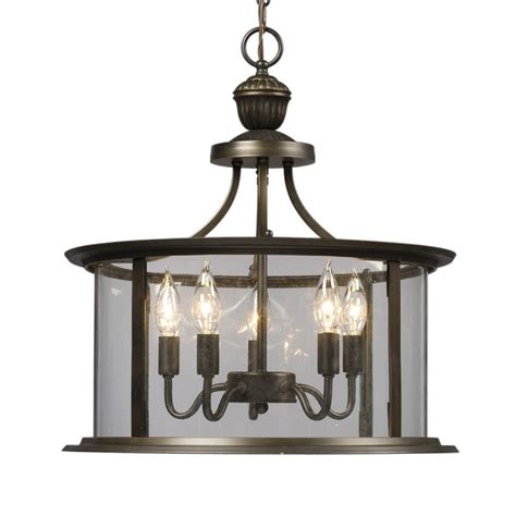 Lantern Chandelier Lowes shop galaxy huntington 18 in rubbed bronze wrought