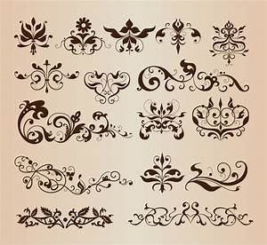 Elegant Decorative Floral Design Elements Vector ...