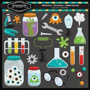 Monster Science Laboratory Clipart Elements Collage Sheet for