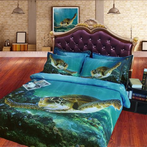 sea turtle bedding jf 079 digital print hd tencel sheets cal king 3d sea 2136