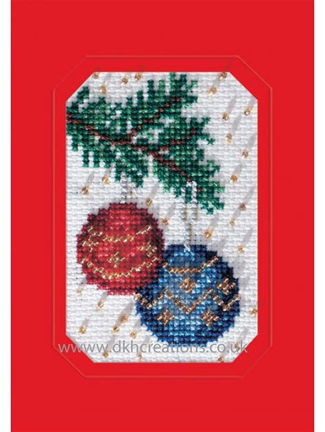 christmas baubles greeting card cross stitch kit
