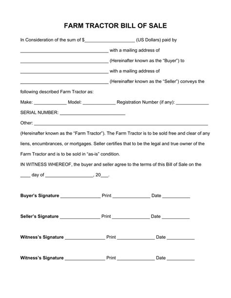 farm tractor bill  sale form  word eforms