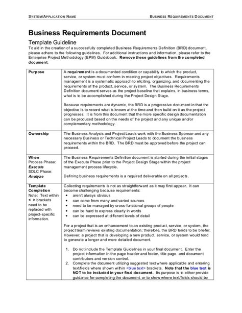 Business Requirement Specification Document Template by Business Requirements Document Template Free Business