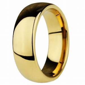 Men39s Gold Plated Dome Tungsten Personalised Wedding Band