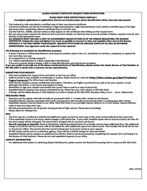 vital statistics form for divorce alaska divorce certificate request form free download