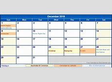 December 2019 Calendar With Holidays 2018 calendar printable