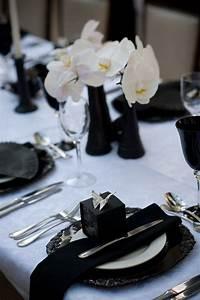 52, elegant, black, and, white, wedding, table, settings