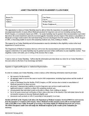 asset transfer undue hardship claim form fill online