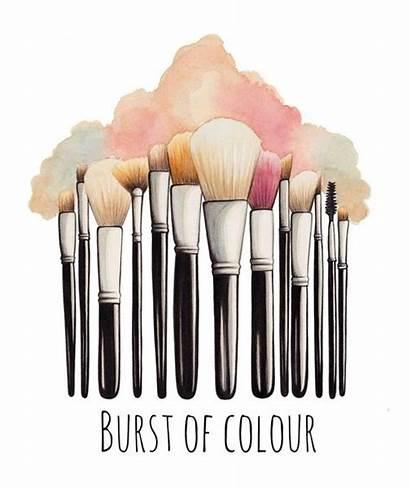Makeup Brush Illustration Brushes Drawing Watercolor Clipart