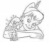 Coloring Peter Pan Flying sketch template