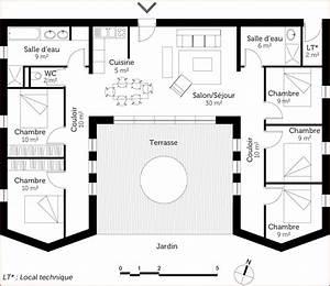 plan de maison 5 chambres plain pied gratuit elegant plan With plan maison 90m2 plain pied