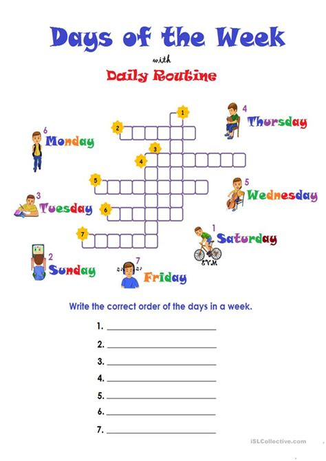 days   week routine worksheet  esl printable