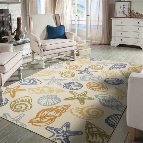 seashell tropical beach shell coastal starfish area rug area rugs