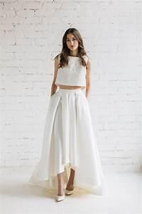wedding dress bridal separates two piece wedding dress With skirt and top wedding dress