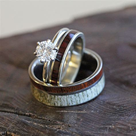 deer antler wedding ring set diamond and wood bridal set