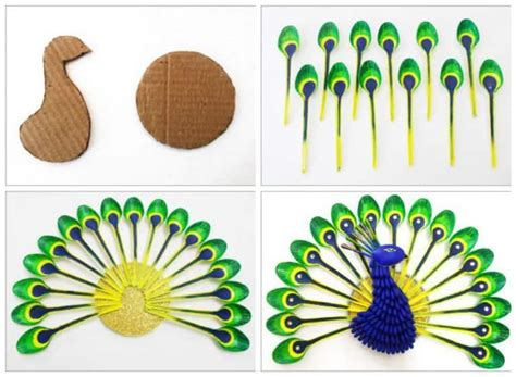 how to make home decor items diy home decor how to make beautiful peacock with plastic spoon recyclart