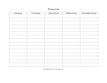 phone directory template phone list template