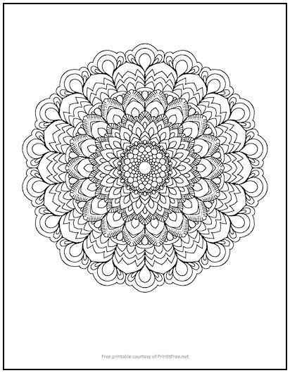 Fancy Flower Mandala Coloring Page (With images) | Mandala