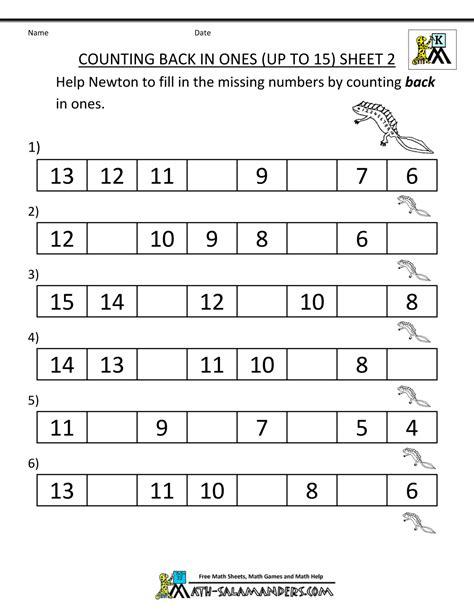 kindergarten counting worksheet sequencing