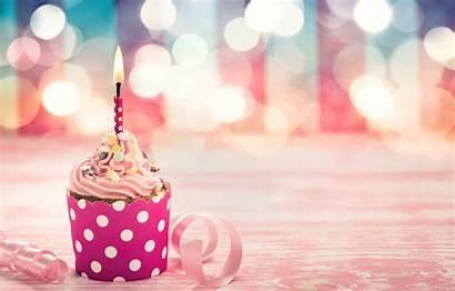 Birthday Pink Cupcake Cake Candle Happy Ribbon