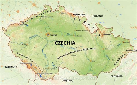 Czechia Physical Map