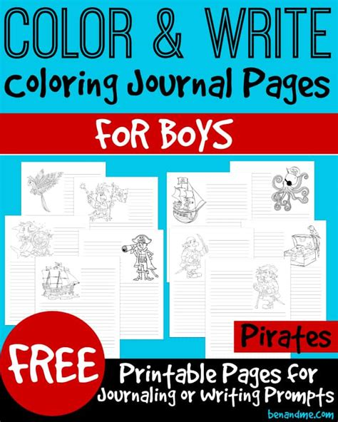 color  write pirate themed coloring journal