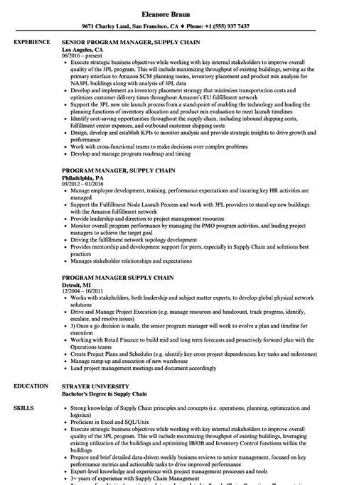 Supply Chain Manager Resume by Program Manager Supply Chain Resume Sles Velvet