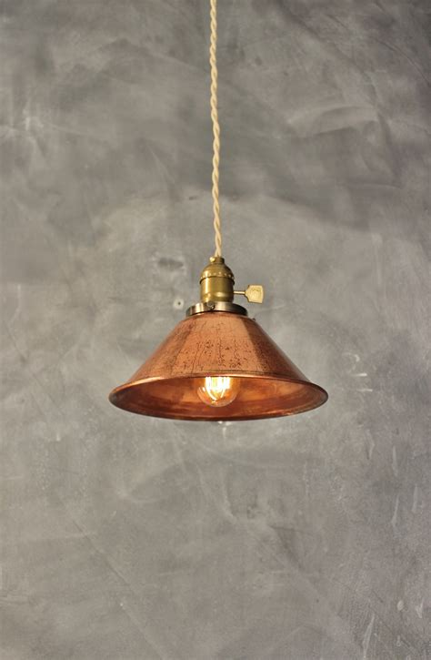 industrial pendant l w weathered copper l shade