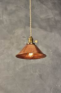 Industrial pendant lamp w weathered copper shade