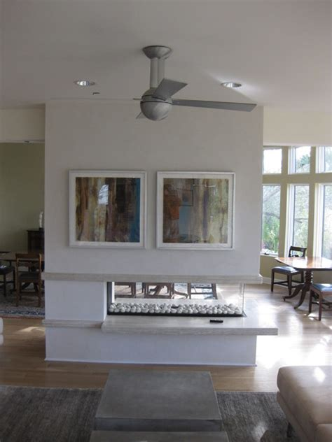 open  sided gas fireplace  floating hearth contemporary living room charleston