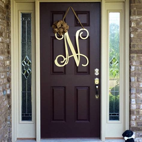 metal initial door wreath  ribbon front door wreaths monogram door hanger monogrammed