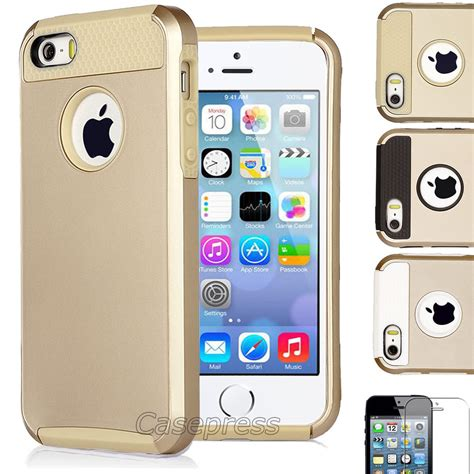 iphone 5 and 5s gold pc shockproof dirt dust proof matte cover