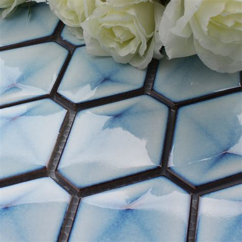 blue porcelain tile hexagon glazed mosaic kitchen