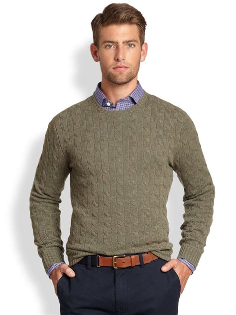 cable sweater mens lyst polo ralph cable knit crewneck