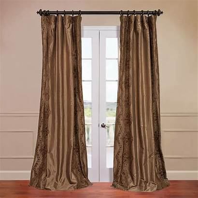 Silk Panel Drapes Curtain Faux Embroidered Single