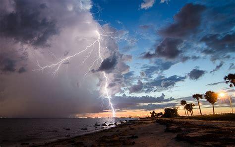 lightning clouds storm beach  wallpaper