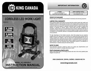 King Canada 1202 Led Work Light Manual English By