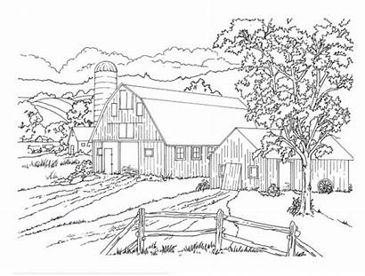 Country Pages Coloring Scenes Printable Countryside Farm