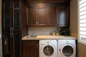 chocolate brown cabinets traditional laundry room With best brand of paint for kitchen cabinets with laundry room wall art ideas
