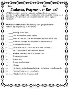 Sentences  Grammar Worksheets On Fragments, Runons, And Types Of Sentences